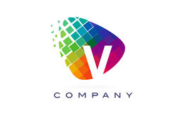 Arco-íris colorido Logo Design da letra V ilustração royalty free