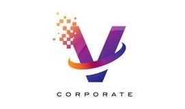 Arco-íris colorido Logo Design da letra V ilustração do vetor