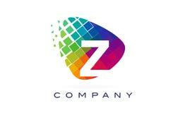 Arco-íris colorido Logo Design da letra Z ilustração stock