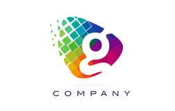 Arco-íris colorido Logo Design de G da letra ilustração stock