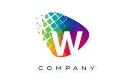 Arco-íris colorido Logo Design de W da letra ilustração do vetor
