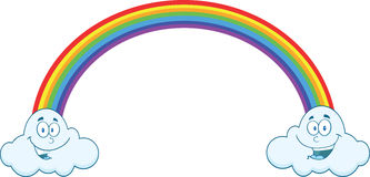 Arco-íris com as nuvens de sorriso nas extremidades Imagens de Stock Royalty Free