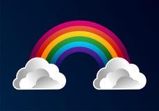 Arco-íris com fundo dos desenhos animados das nuvens ilustração stock