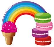 Arco-íris com gelado e bolinhos de amêndoa Imagens de Stock