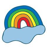 Arco-íris com o vetor da nuvem colorido ilustração do vetor