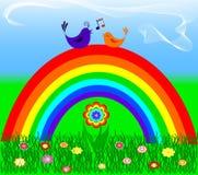 Arco-íris com pássaro do amor Fotos de Stock