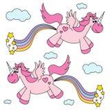 Arco-íris cor-de-rosa engraçado bonito farting dos unicórnios e voar ilustração stock