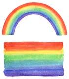 Arco-íris da aquarela e curso da escova do inclinação Foto de Stock