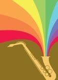 Arco-íris da explosão do saxofone do jazz Fotografia de Stock Royalty Free