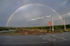 Arco-íris da trilha do trem fotografia de stock royalty free