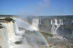 Arco-íris das cachoeiras de Iguazu em ensolarado Imagem de Stock