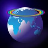 Arco-íris do globo do mundo ilustração do vetor