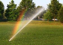 Arco-íris do sistema de extinção de incêndios do gramado Fotografia de Stock Royalty Free