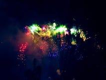 Arco-íris dos fogos de artifício fotografia de stock royalty free