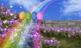 Arco-íris dos ovos da páscoa Foto de Stock Royalty Free
