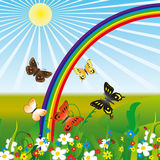 Arco-íris e borboletas Imagem de Stock