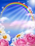 Arco-íris e flores Fotos de Stock