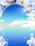 Arco-íris e flores brancas ilustração do vetor
