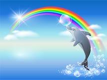 Arco-íris e golfinho Fotografia de Stock Royalty Free