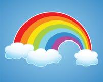 arco-íris e nuvens do vetor no céu Fotografia de Stock Royalty Free