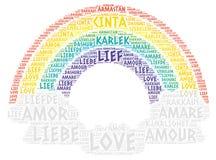 Arco-íris e nuvens ilustrados com palavra do amor Imagens de Stock