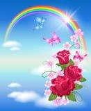 Arco-íris e rosas ilustração stock