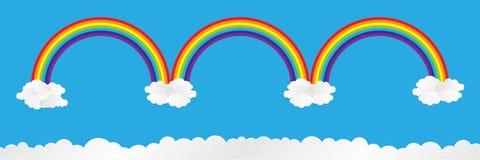 arco-íris horizontal no céu azul com nuvens, ilustração do vetor Foto de Stock Royalty Free