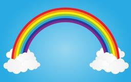arco-íris no céu azul com nuvens, ilustração do vetor Fotografia de Stock