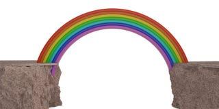 Arco-íris no conceito criativo dos penhascos rochosos ilustração 3D ilustração do vetor