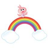 Arco-íris, nuvens, e pássaro Fotografia de Stock