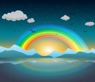 Arco-íris sobre o lago com reflexão ilustração stock