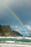Arco-íris sobre o promontório foto de stock royalty free