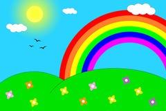 Arco-íris sobre os montes Fotografia de Stock Royalty Free