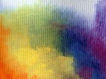 Arco-íris textured colorido do sumário do fundo da arte da aquarela Fotografia de Stock Royalty Free