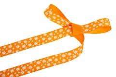 Arco arancio del regalo con i fiori bianchi Fotografia Stock Libera da Diritti
