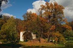 Arco arruinado en la isla en parque Foto de archivo