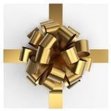 Arco attuale dell'oro della scatola Fotografia Stock
