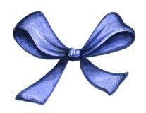 Arco azul del regalo aislado en blanco Fotografía de archivo