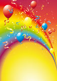 Arco balloons. Rainbow with multi-couloured streamers and balloons Royalty Free Stock Photography