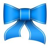Arco blu del nastro di natale Fotografia Stock