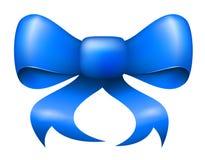 Arco blu del nastro di natale di vettore Fotografie Stock Libere da Diritti