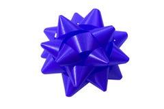 Arco blu del regalo Fotografia Stock