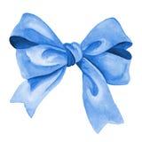 Arco blu del regalo Illustrazione dell'acquerello Fotografia Stock Libera da Diritti