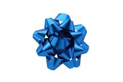 Arco blu del regalo sopra priorità bassa bianca Immagini Stock Libere da Diritti