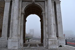 Arco Clementino with fog, Ancona, marche, italy Stock Photos
