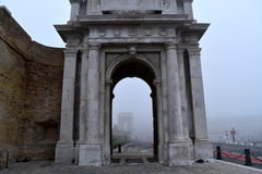 Arco Clementino with fog, Ancona, marche, italy Royalty Free Stock Photo