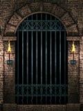 Arco con la puerta del hierro ilustración del vector