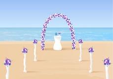 Arco da cerimônia de casamento no oceano Fotos de Stock