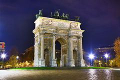 Arco da paz (Porta Sempione) em Milão Imagem de Stock