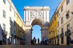 Arco DA Rua Αουγκούστα στη Λισσαβώνα Πορτογαλία στις θερινές διακοπές ι Snny Στοκ Φωτογραφίες